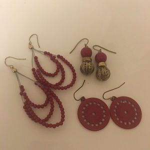Jewelry - Lot of 3 Dangly Red Earrings!!!